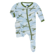 Pond Airplanes Print Zippered Footie