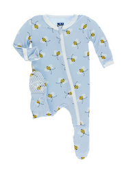 Pond Bees Zippered Footie