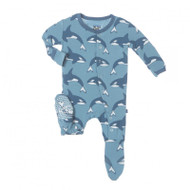 Blue Moon Orca Footie with Snaps