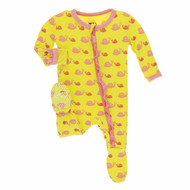 Print Muffin Ruffle Footie with Zipper in Banana Snails