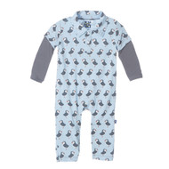 Print Long Sleeve Polo Romper in Pond Puffin