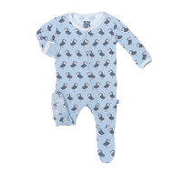 Print Footie with Snaps in Pond Puffin