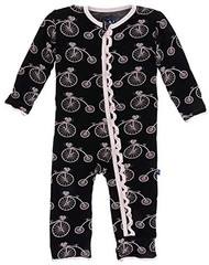 Print Muffin Ruffle Coverall with Zipper in Girl in Midnight Bikes