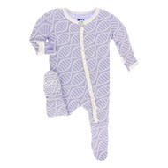 Print Classic Ruffle Footie with Zipper in Lilac Double Helix
