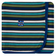 Swaddling Blanket in Botany Grasshopper Stripe