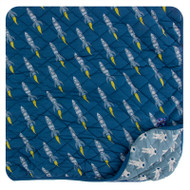 Print Quilted Toddler Blanket in Dusty Sky Astronaut/Twilight Rockets