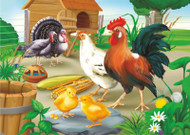 Rooster and Hen Jigsaw Puzzle - 35 piece