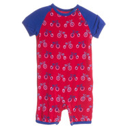 Print Short Sleeve Romper with Snaps in Balloon Tricycle