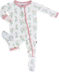 Print Ruffle Footie with Snaps in Natural Cactus