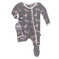 Print Ruffle Footie with Snaps in Cobblestone Poodle