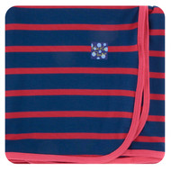 Print Swaddling Blanket in Everyday Heroes Navy Stripe