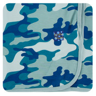 Print Swaddling Blanket in Oasis Military