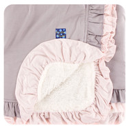 Solid Sherpa-Lined Double Ruffle Toddler Blanket in Feather with Macaroon