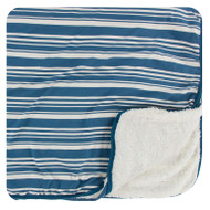 Print Sherpa-Lined Toddler Blanket in Fishing Stripe