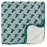Print Sherpa-Lined Toddler Blanket in Jade Mallard Duck