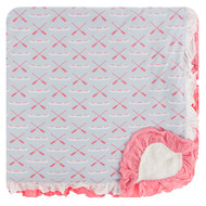 Print Sherpa-Lined Double Ruffle Toddler Blanket in Dew Paddles and Canoe