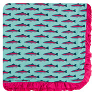 Print Ruffle Toddler Blanket in Glass Rainbow Trout