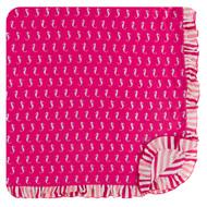 Print Ruffle Toddler Blanket in Prickly Pear Mini Seahorses