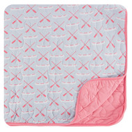 Print Quilted Toddler Blanket in Dew Paddles and Canoe/Strawberry