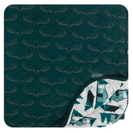 Print Quilted Toddler Blanket in Pine Deer Rack/Natural Cabins and Tents