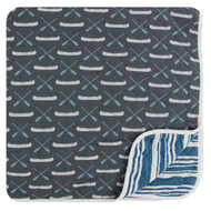 Print Quilted Toddler Blanket in Stone Paddles and Canoe/Fishing Stripe
