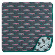 Print Quilted Toddler Blanket in Stone Rainbow Trout/Jade Mallard Duck