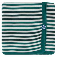 Print Knitted Stroller Blanket in Wildlife Stripe