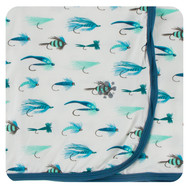 Print Swaddle Blanket in Natural Fishing Flies