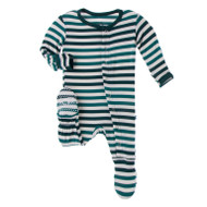 Print Footie with Snaps in Wildlife Stripe