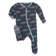Print Footie with Zipper in Stone Rainbow Trout