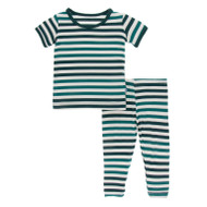 Short Sleeve Pajama Set in Wildlife Stripe