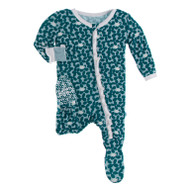 Classic Ruffle Footie with Zipper in Jade Running Buffalo Clover
