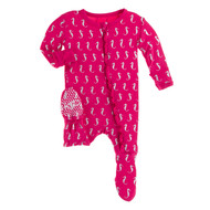 Classic Ruffle Footie with Zipper in Prickly Pear Mini Seahorses
