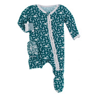 Muffin Ruffle Footie with Zipper in Jade Running Buffalo
