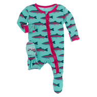 Muffin Ruffle Footie with Zipper in Glass Rainbow Trout