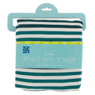 Print Fitted Crib Sheet in Wildlife Stripe