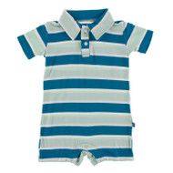 Short Sleeve Polo Romper in Seaside Cafe Stripe