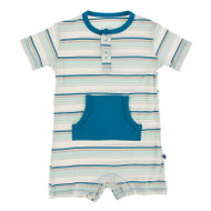 Short Sleeve Kangaroo Romper in Culinary Arts Stripe