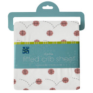 Print Fitted Crib Sheet in Natural Basketball