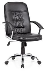 كرسي موظف جلد وكروم 9923