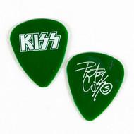 KISS Guitar Pick - Peter Criss white on dark green