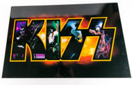 KISS Poster - Band in Logo mounted on hard-chipboard