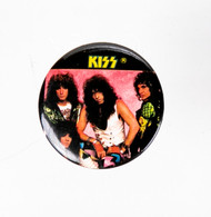 KISS Button - Hot in the Shade, yellow logo.