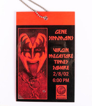 KISS Laminate - Gene Simmons Virgin Megastore 2001, red.