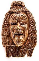 KISS Pin - Gene Simmons head, (gold colored)