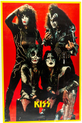 KISS Poster - Canadian Destroyer group red background '76 (tape on front 6/10)