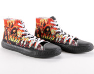 KISS Shoes - High Top Sneakers, flames, (men's size 9 1/2)