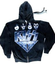 KISS Sweat Shirt Hoodie - KISS Army Blue, (size M)
