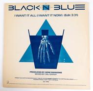 "Black 'n Blue Vinyl - 12"" single, I Want it All, Tommy Thayer, Gene Simmons1986"