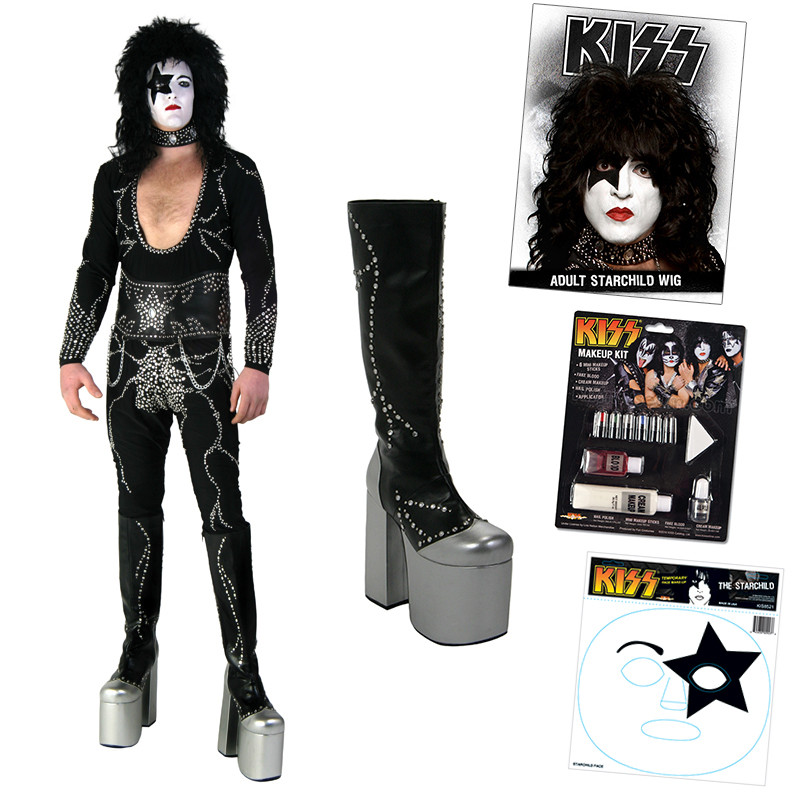 The Starchild Adult Costume KISS Rock Star Paul Stanley Halloween Fancy Dress